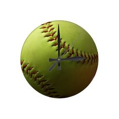 Softball Wall Clock - $23.95 - Softball Wall Clock - This yellow softball wall clock would look great in a den or office! Perfect for a gift for a coach or player. Fully customizable, add text to add your team name, league name or player name and number!
