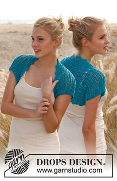 "Free pattern: Knitted DROPS bolero with lace pattern in ""Cotton Light"". Size: S - XXXL. ~ #DROPSDesign #Garnstduio"