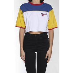 Vintage Tommy Hilfiger Crop Tee ($50) ❤ liked on Polyvore featuring tops, t-shirts, vintage t shirts, crop tops, vintage tops, vintage crop top and cut-out crop tops