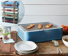 Give your favorite griller the freedom to pick up and go anywhere with this briefcase lookalike that turns into a tabletop barbecue. Perforated holes make way for high-heat-enabling airflow with any kind of charcoal. Available in four colors. Briefcase Barbecue, about $375; RS Barcelona, Food52. | Photo: James Ransom