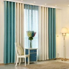 European Pastoral Style Curtain Solid Color Thicken Polyester Stitching Curtains Beige And Blue Curtain Living Room Decor Curtains, Home Curtains, Living Room Sofa, Home Living Room, Sofa Design, Interior Design, Home Room Design, Living Room Designs, Curtain Designs