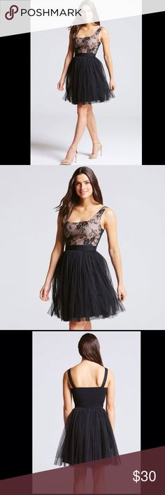 Little Mistress black mini dress. NWT Bramd New. Black mini dress with full mesh skirt, lace bust. Little Mistress Dresses Mini