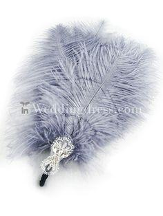 Elegant Grey Ostrich Feather Corsages with Rhinestone