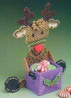 REINDEER TREAT HOLDER CHRISTMAS PLASTIC CANVAS PATTERN ONLY FROM A BOOK #PATTERNFROMABOOK
