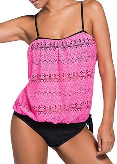 Lace Design Pink spaghetti strap Top and Black Panty Swimwear Tankini, sweet tankini, get more design and information at rosewe.com, check it out.