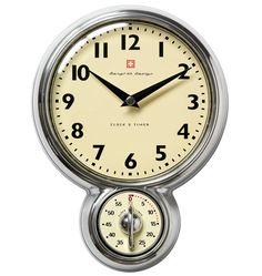 Retrovægur med Timer, 18 cm Ø, Aluminium - Bengt Ek Design @ RoyalDesign. Ceramic Kitchen Sinks, Picture Clock, Wall Clock Brands, Kitchen Storage Units, Window Seat Storage, Kitchen Wall Clocks, Timer Clock, White Interior Design, Estilo Retro