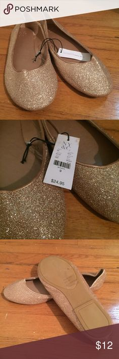 • NY&C • NWT • gold sparkly flats NWT New York & Company gold sparkly flats. Size 9. New York & Company Shoes Flats & Loafers