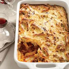 The moist and fragrant casserole pastitsio combines bechamel (a sauce of butter, flour and milk), pasta, ground lamb, tomato sauce, cheese, cinnamon and nutmeg. Instead of bechamel, Grace Parisi stirs a ricotta mixture into the pasta before baking it.
