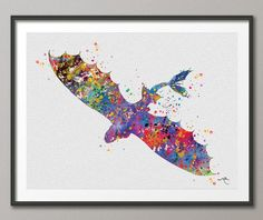 Toothless Fury 2 How to train your DRAGON Watercolor  Art Print Wall Art Poster Wall Decor Art Home Decor Wall Hanging [NO 252]