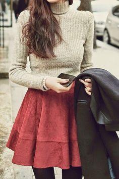 Street style turtle neck sweater and cute red velvet skirt