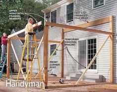 Build the corners of the screened in porch.