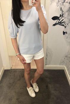 Ann Taylor lace Trim Puff Sleeve Top, size XXS regular