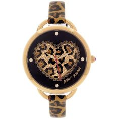 Betsey Johnson Watch, Women's Leopard Heart Printed Leather Strap 30mm... ($115) ❤ liked on Polyvore