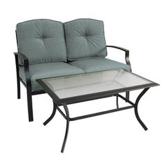 Garden Treasures�2-Piece Cascade Creek Black Steel Patio Loveseat and Coffee Table Set with Solid Blue Cushions