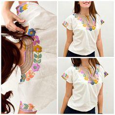 Blusa Artesanal Colorida de Flores / Diseño por FlorDeKahlo en Etsy