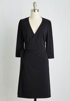 Lighthearted Lecture Dress in Ink. When you speak before a packed lecture hall, you tend to move with inspiration - especially when youre wearing this black wrap dress! #black #modcloth