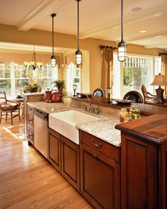 wood bar top kitchen two tiered countertop | Kitchen Countertop; I am short so having the two heights is nice so I'm able to keep my working areas lower than the bar and be comfy!