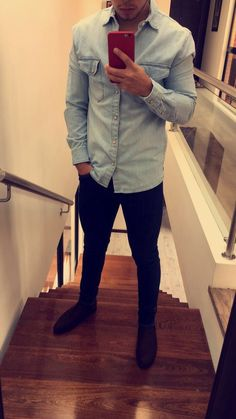 Denim shirt and black