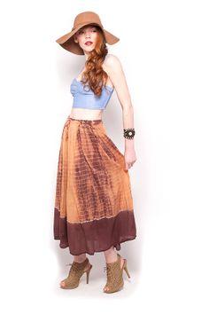 Vintage Boho Shibori Tie Dye India Sequin Trim India Skirt by AmericanDrifter, $58.00