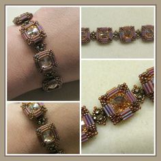 Side  Show Bracelet *168 - Size 3 (6mm) Bugle Beads (BB)  *656 - 11/0 Seed Beads (Toho)  *4 Grams - Size 15 Seed Beads  *7 - 14mm Rivoli  *26 - 3mm Faceted Rounds  *14 yards - 4lb Fire Line  *1 - Size 12 Beading Needle  *Clasp of your choice