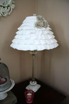 DIY ruffle lamp shade- imagine this in varigated shades of lilac! by Beth McCully