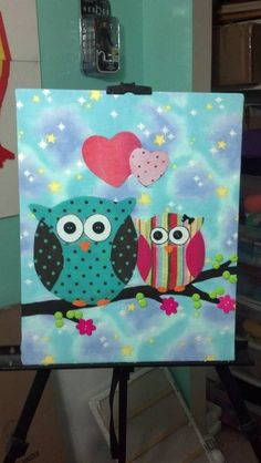 owls made with fabric and buttons on canvas - MORE ART, LESS CRAFT