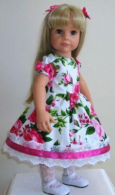 "Vintagebaby dress, tights pants & hair bows 18"" dolls Gotz/Designafriend Hannah"