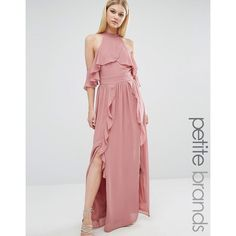 TFNC Petite Wedding High Neck Maxi Dress With Frills ( 89) ❤ liked on  Polyvore 195eaf635