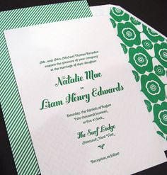 Kelly Green Letterpress Wedding Invitations (subtle chevron pattern) by Smock