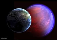 An artist's impression of the alien planet 55 Cancri e, with Earth in the foreground for comparison.