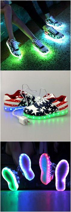 US national flag LED lighting shoes for teens