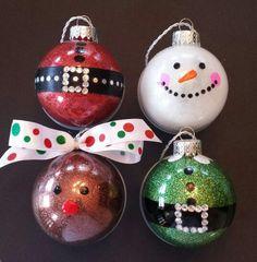 Christmas characters sparkle ornaments: Santa, Snowman, Reindeer, and Elf.