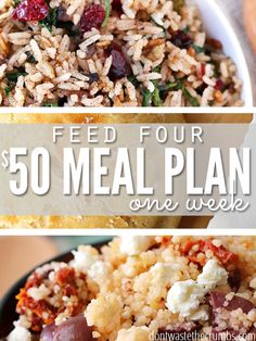 A $50 meal plan for a family of four covers clean eating and easy recipes for breakfast, lunches and dinners for a full week. It's perfect when money is tight and you're not sure what to put on the table, or use as a budget tip to save money on groceries! :: DontWastetheCrumbs.com