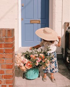 Peonies, big bouquet, baby girl, summer look, adorable, kids style, stylish kids, big straw hat
