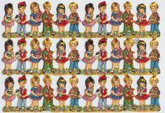 G&CH. CROMOS TROQUELADOS. SCRAP DECOUPAGE. 1 LÁMINA ED.KRUGER ALEMANES PAREJITAS 4 (Papel - Cromos y Álbumes - Cromos Troquelados)