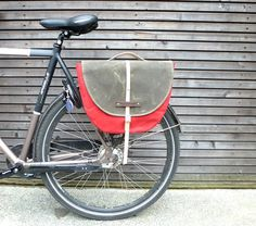Waxed canvas pannier / bicycle bag  with flap by treesizeverse, $189.00
