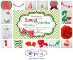 A complete charming, handmade watermelon birthday party.  You just add the cake and food!  By Piece of Cake Parties.  Charming.  Effortless.  Affordable.