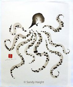 Original Sumi Painting, octopus, art, ocean, sea life, tide pools, black & white, red chop, brush, ink, Japanese, decor, wall art, unframed
