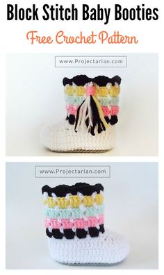 Crochet Baby Shoes Block Stitch Baby Booties Free Crochet Pattern - The Beautiful Block Stitch Free Crochet Patterns are the perfect stitch for every single crocheter to learn. It is easy and creates unique design. Crochet Blanket Border, Crochet Baby Blanket Beginner, Easy Crochet Projects, Diy Crochet, Crochet Granny, Crochet Baby Shoes, Crochet Baby Booties, Crochet For Beginners, Beautiful Crochet