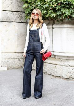 Your Denim Street Style Handbook: 52 Looks To Get You Inspired via @WhoWhatWear Overalls Outfit, Denim Overalls, Denim Outfit, Dungarees, Denim Jumpsuit, Jeans Trend, Denim Trends, Summer Fashion For Teens, Spring Fashion Outfits