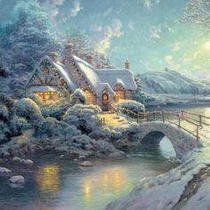Christmas Moonlight ~ Thomas Kinkade                                                                                                                                                      More