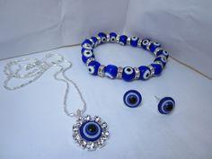 Women Choker Necklace+Stud Earring+Bracelet Bangle Jewelry Set Turkish Blue Evil Eye Stone Rhinestone turco Punk AccessoriesKB06 Only at: $8.99 & FREE Shipping Worldwide
