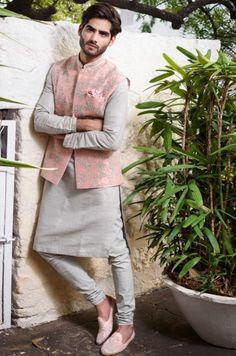 Shop Anushree Reddy - Men Embroidered Bundi With Kurta & Churidar , Exclusive Indian Designer Latest Collections Available at Aza Fashions Wedding Kurta For Men, Wedding Dresses Men Indian, Wedding Dress Men, Men's Wedding Wear, Formal Outfits For Men, Waistcoat Men Wedding, Wedding Outfits For Men, Punjabi Wedding, Indian Weddings