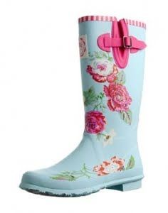 Vintage rose covered wellies