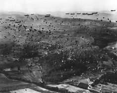 U.S. paratroopers landing in southern France, 1944.