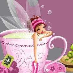 Pixie wakes up to a coffee cup full of wonderful, yummy snugs! Fairy Dust, Fairy Land, Fairy Tales, Fantasy World, Fantasy Art, Whimsical Art, Cute Illustration, Mythical Creatures, Faeries