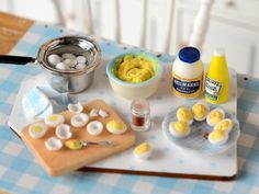 Miniature Making Deviled Eggs