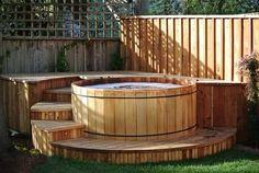 whirlpool im garten Western Red Cedar Hot Tub Luxury Spa Life Whirlpool Deck, Hot Tub Surround, Round Hot Tub, Piscine Diy, Tub Enclosures, Hot Tub Deck, Hot Tub Garden, Custom Decks, Western Red Cedar