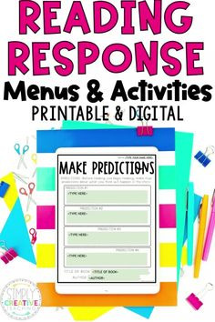 Get these digital (Google Slides) or printable monthly reading menus and choice boards to use for 2nd, 3rd, or 4th grade reading response activities. Each reading response menu has six different reading response activities and corresponding graphic organizers to complete with any fiction or nonfiction book. The perfect resource for in-person whole group, independent work, or reading notebooks.  Or use the digital version for distance learning to meet all students' needs. Get yours now!
