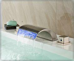 Torneira LED cor mudar cachoeira 3 furos cachoeira banheira torneira níquel escovado aparelhos para banheiro alishoppbrasil
